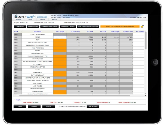 MediaWeb Production Accounting Software on iPad